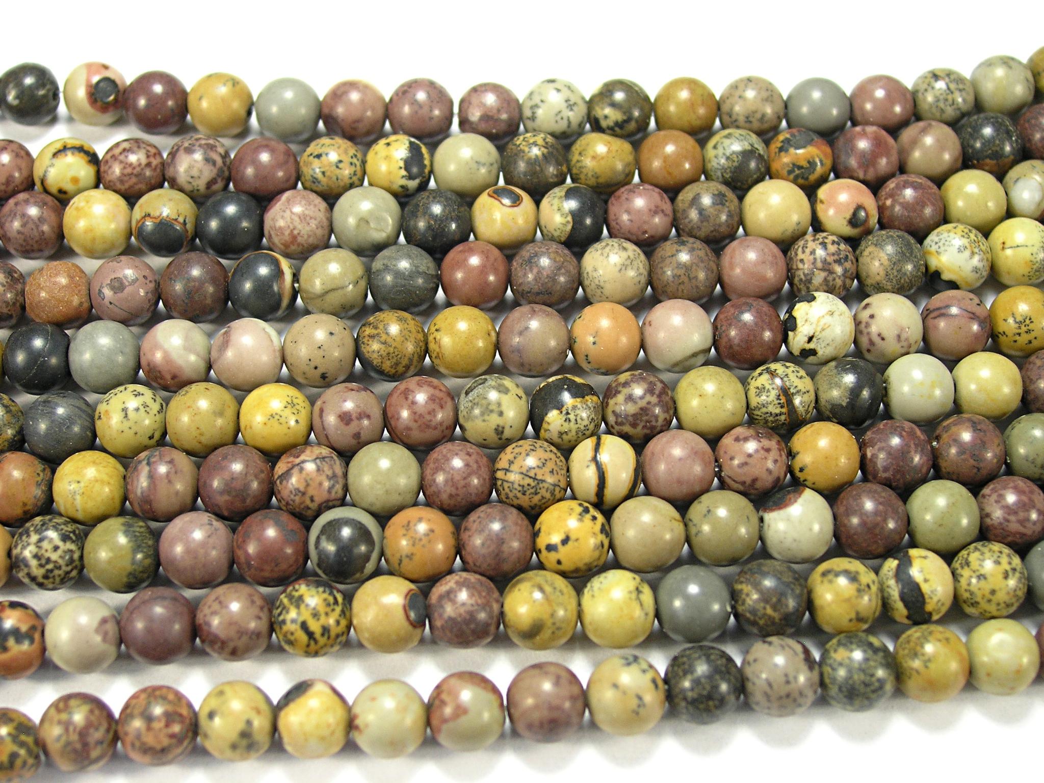 Нити бусин из яшмы травяной, шар гладкий 6мм (оптом)