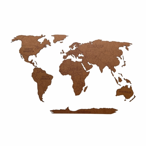 Деревянная карта мира 80х40 см Continent Еdition с гравировкой материков, коричневая