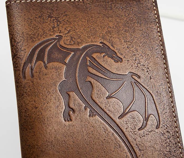 BY14-09-09 Кожаная обложка на паспорт с драконом фото 02