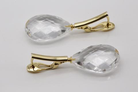 Серьги «Блеск хрусталя» с горным хрусталем из серебра 925 с позолотой. Арт. 460546470006
