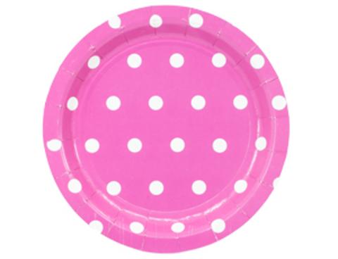 1502-3912 Тарелка Горошек ярко-розовая 17см 6шт/G
