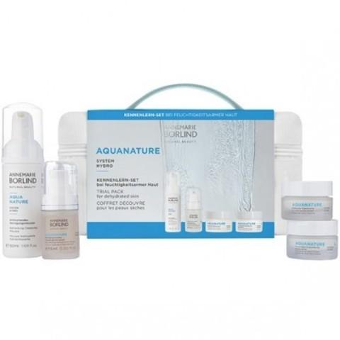 Annemarie Borlind AQUANATURE: Набор: Очищающий мусс, Увлажняющая сыворотка, Увлажняющий разглаживающий дневной крем, Увлажняющий ночной крем (Trial Pack for Dehydrated Skin), 50мл+ 15мл+ 15мл+15мл
