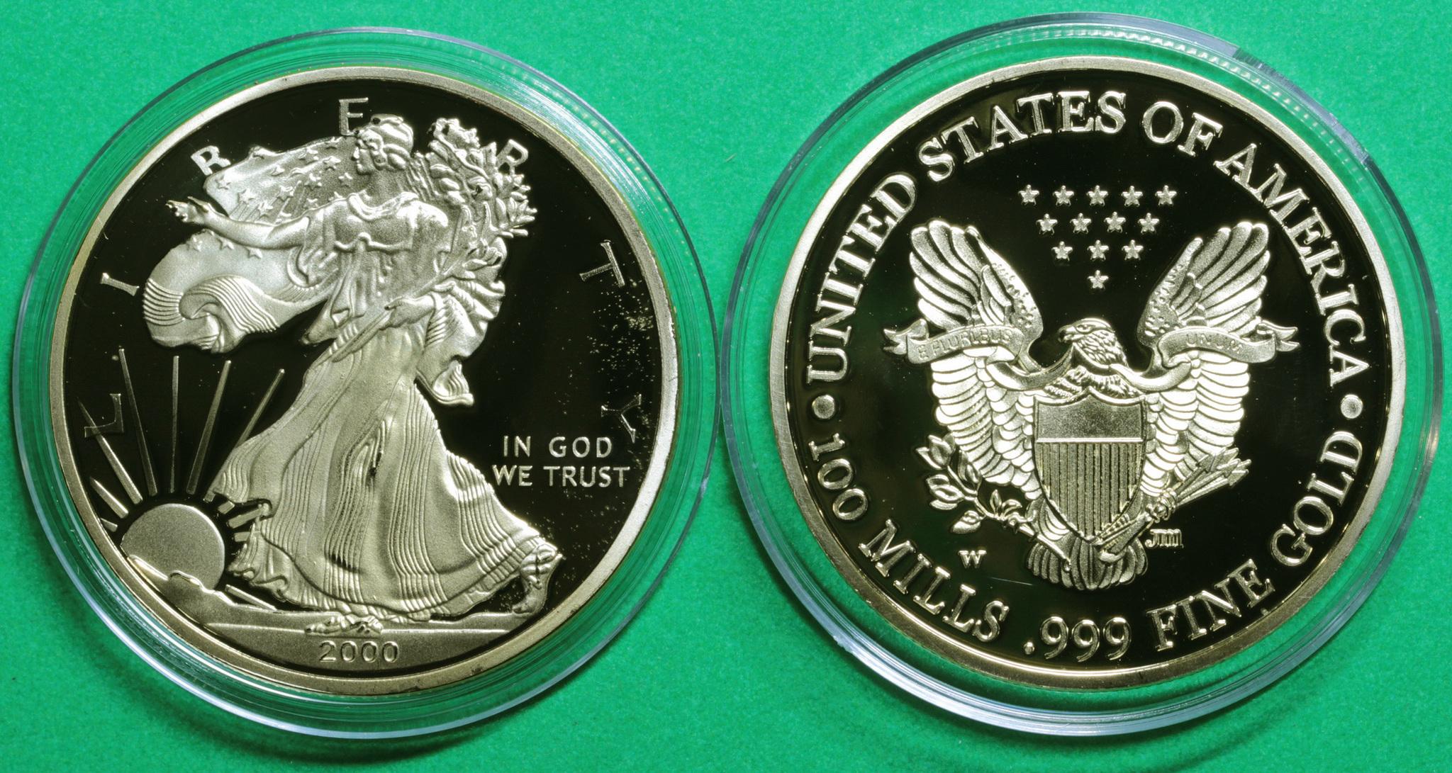 Жетон 100 mills США Liberty 2000 года Шагающая свобода позолота Копия Копия