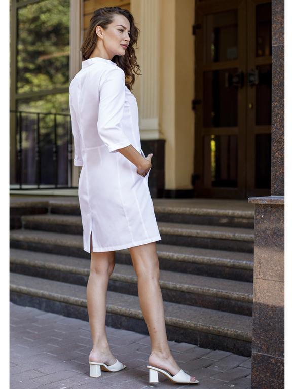 Белый медицинский халат Х-253|MediS.moda