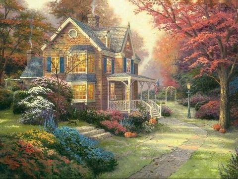 Алмазная Мозаика 40x50 Уютный дом среди осенних красок (арт. S3354)