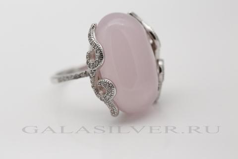 Кольцо с розовым кварцем и цирконом из серебра 925