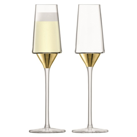 Набор из 2 бокалов-флейт для шампанского Space, 210 мл, золото
