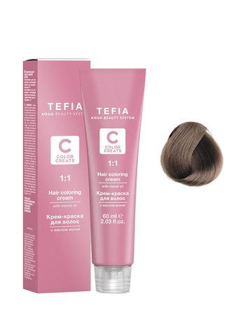 Крем-краска для волос с маслом монои 7.2 блондин бежевый 60 мл COLOR CREATS Tefia
