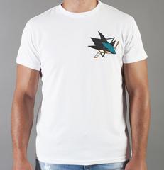 Футболка с принтом НХЛ Сан-Хосе Шаркс (NHL San Jose Sharks) белая 0017