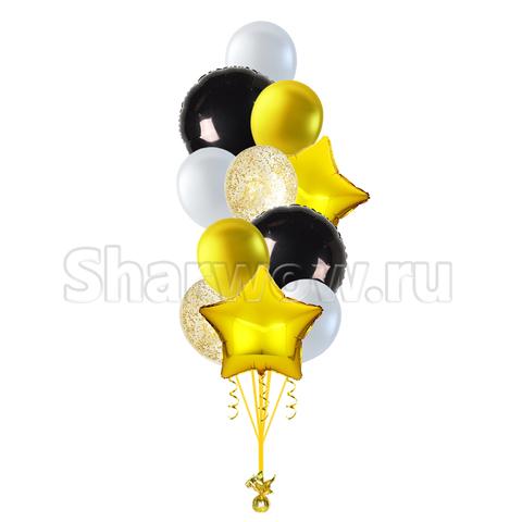 Букет воздушных шаров Черный с золотым