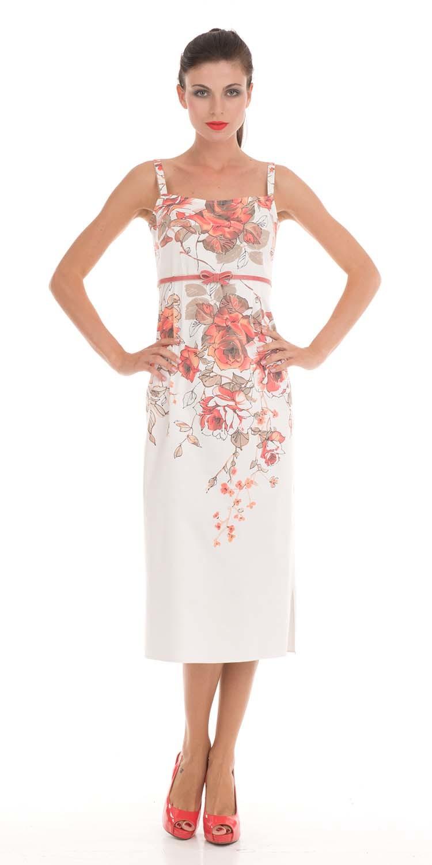 Платье З014а-599 - Платье-сарафан длины миди из хлопка-стрейч. Отличный вариант для ценителей экологичного стиля. Эффектный цветочный принт подчеркнёт индивидуальность и создаст романтический образ.
