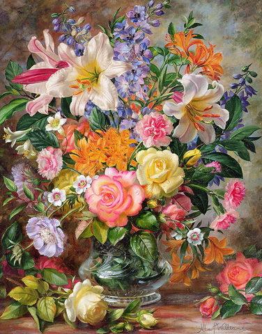 Картина раскраска по номерам 30x40 Разноцветный букет