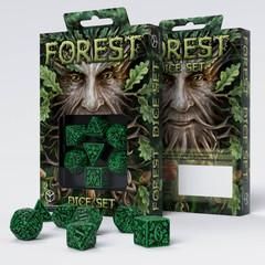 Forest 3D Green & black Dice Set (7)