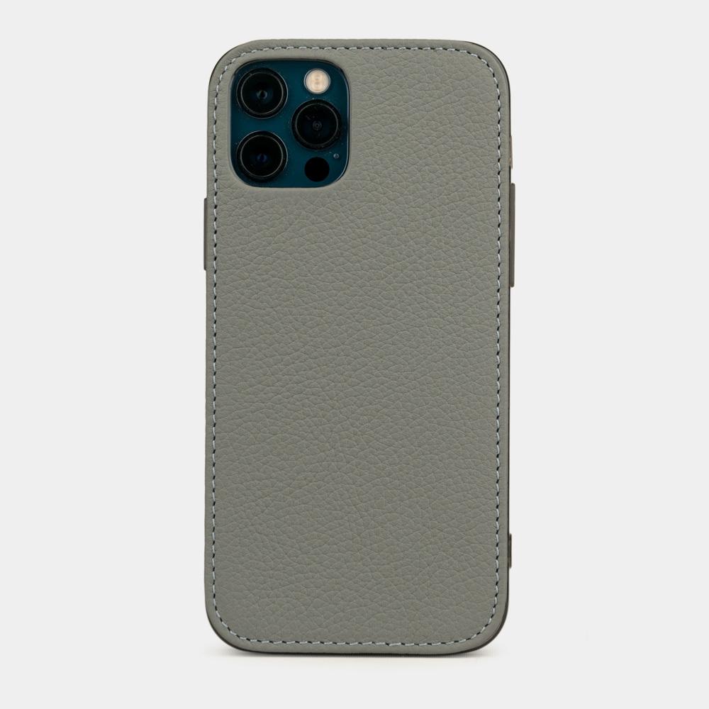 Чехол-накладка для iPhone 12/12Pro из натуральной кожи теленка, стального цвета