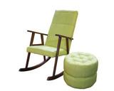 Кресло-качалка Стелси-К и пуф Глаффи-2 без ящика, натуральная кожа, цвет Менти