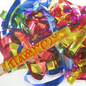 Пневмохлопушка в пластиковой тубе фольгированное конфетти 60см