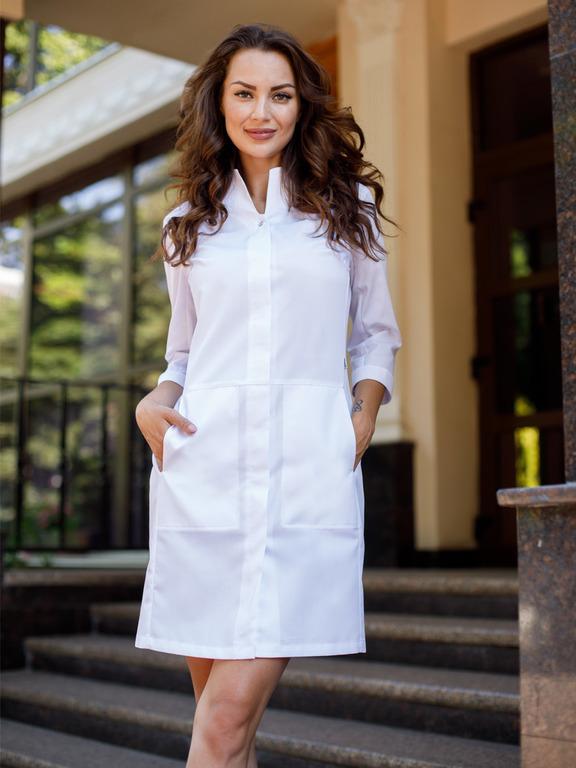 Купить белый медицинский халат Х-253|MediS.moda