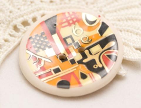 Пуговица керамическая с абстрактными узорами, цвета лимонный, красный, чёрный, оранжевый, большая, размер 35 мм