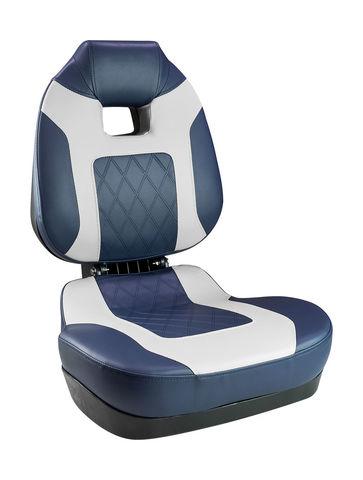 Кресло складное мягкое FISH PRO II с высокой спинкой, цвет синий/серый