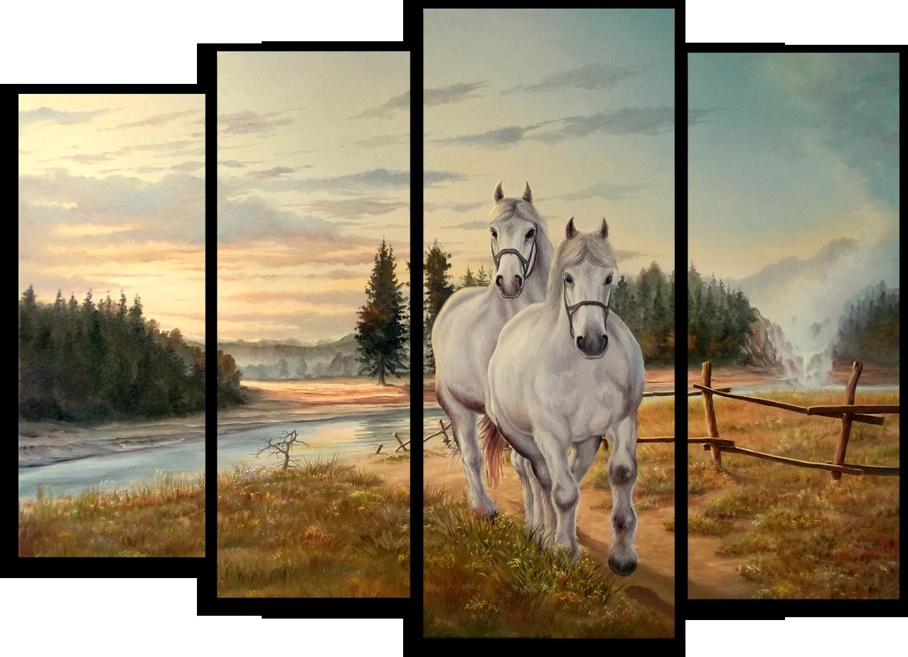 """Модульные картины Модульная картина """"Два белых коня"""" М176.png"""