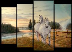 "Модульная картина ""Два белых коня"""