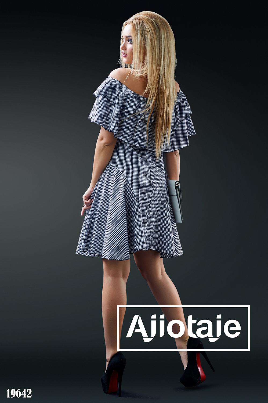 Платье в клеточку с открытыми плечиками