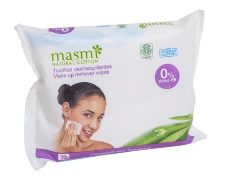 MASMI Органические влажные салфетки для снятия макияжа,  20 шт