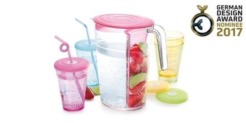 Кувшин myDRINK 2.5л. 4 стакана с крышками, розовый