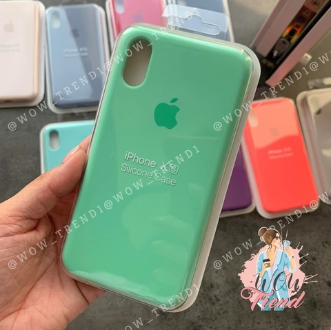 Чехол iPhone X/XS Silicone Case Full /spearmint/ яркая мята