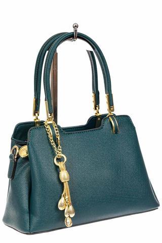 Женская сумка-трапеция из искусственной кожи с подвеской, цвет сине-зеленый
