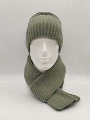 Мужской комплект шапка с отворотом и шарф, цвет полынь