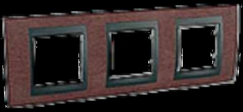 Рамка на 3 поста. Цвет Табачное дерево-графит. Schneider electric Unica Top. MGU66.006.2M4