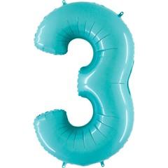 Г 40''/102см, Цифра 3, Матовый голубой.