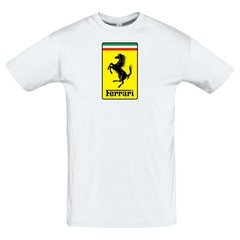 Футболка с принтом Феррари (Ferrari) белая 3