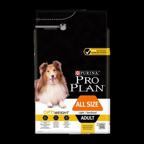 Purina Pro Plan Adult Optiweight Light/Sterilised All Size Сухой корм для стерилизованных собак склонных к избыточному весу всех пород с курицей и рисом