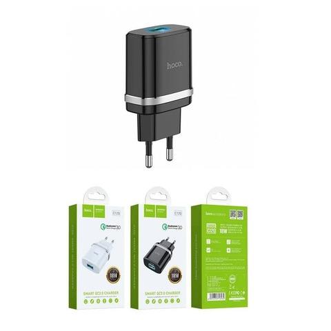 Сетевая зарядка Hoco C12Q Smart QC3.0 charger USB /black/