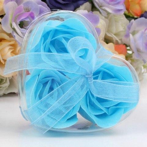 Мыльные розы в коробке голубые (3шт)