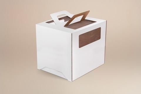 Коробка для торта 28*28*30 с окном и ручками, белая