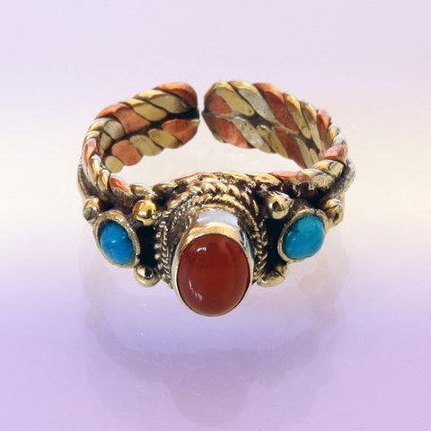 Кольцо  безразмерное, медь, латунь, камни
