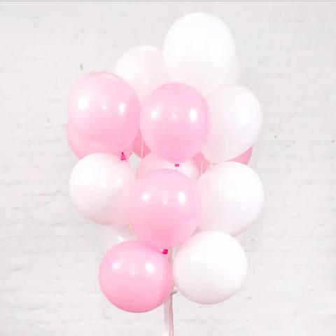 25 шаров 36 см белый и розовый
