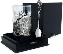 Серебряный набор для чая «Глухариная охота» с чернением