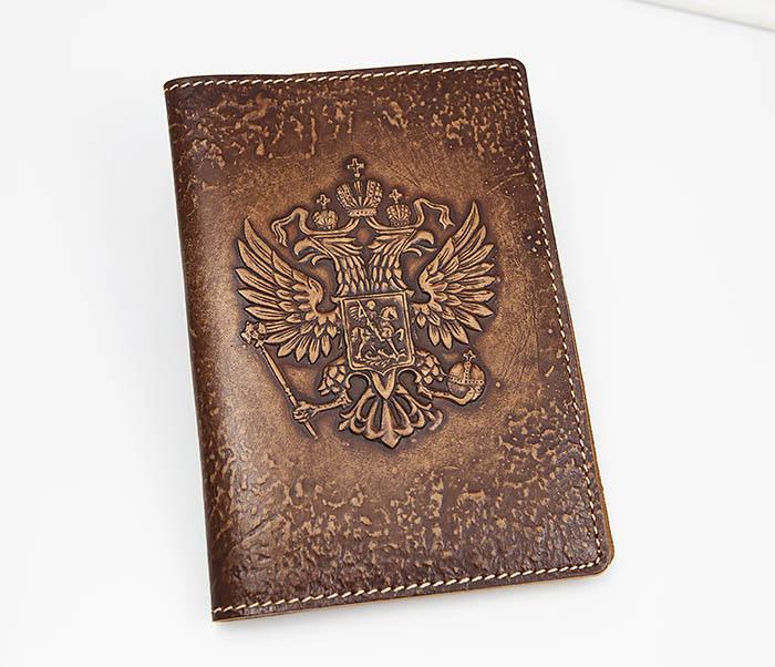 BY14-25-06 Обложка для паспорта Герб России, объемное тиснение