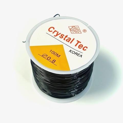 Спандекс резинка для браслетов 0,8 мм катушка 50 метров черный