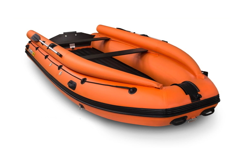 Надувная ПВХ-лодка Солар - 430 Super Jet Tunnel с фальшбортом (оранжевый)
