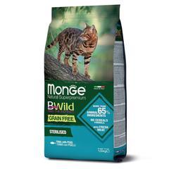 Monge Cat BWild Grain Free Сухой беззерновой корм для стерилизованных кошек из тунца