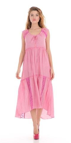 Фото широкое розовое платье с декоративными пуговицами и кружевом - Платье З015-323 (1)