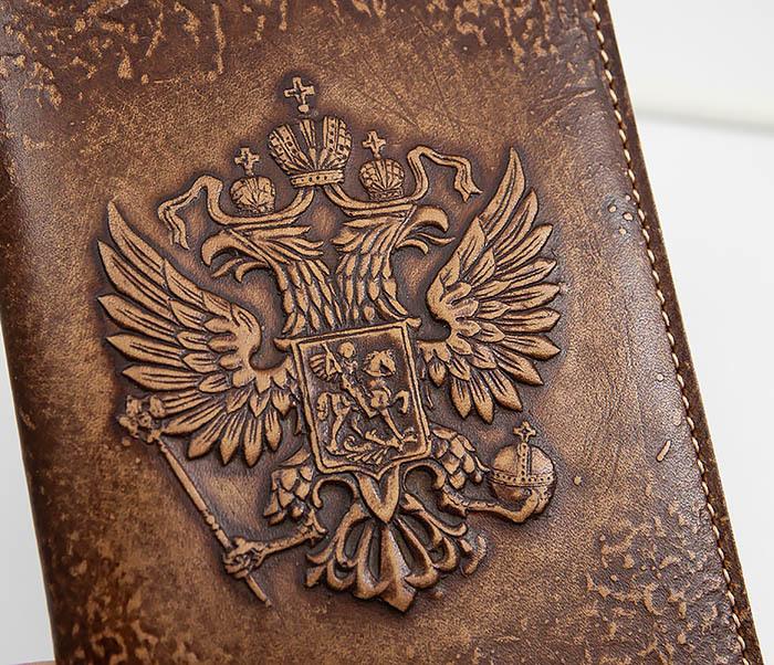 BY14-25-06 Обложка для паспорта Герб России, объемное тиснение фото 02