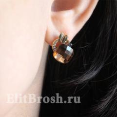 Серьги с коричневыми кристаллами Сваровски