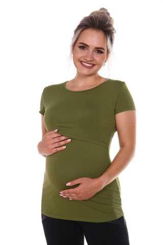Мамаландия. Футболка для беременных и кормящих, хаки
