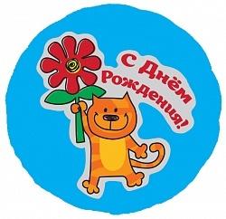 Фольгированный шар С Днем рождения (кот с цветком) 18